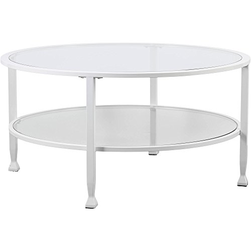 Southern Enterprises Contemporary Style Metal/Glass Simple Round Coffee Table in Crisp (Sei Metal Table)