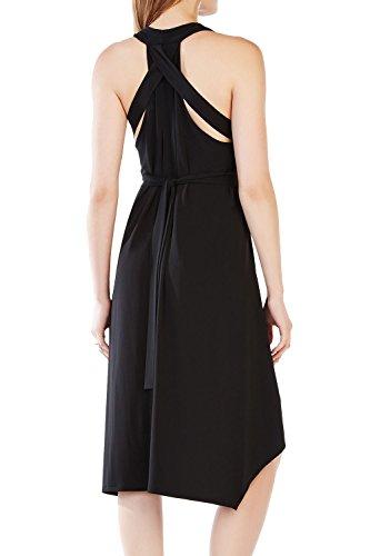Elegante profundo escote en v vestido de oscilación acanalada de las mujeres