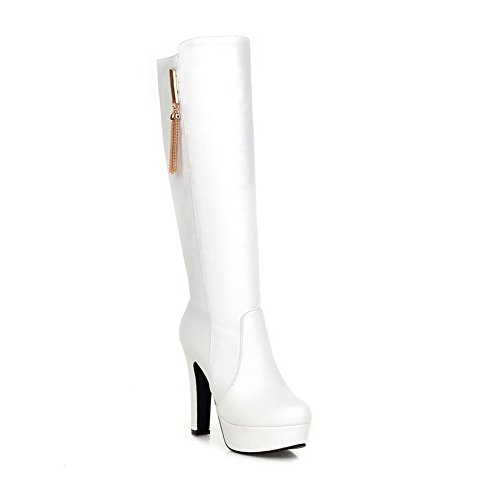 WeiPoot Women's Blend Materials Solid Closed-Toe Boots with Chunky Heels and Platform, White, 36 ()