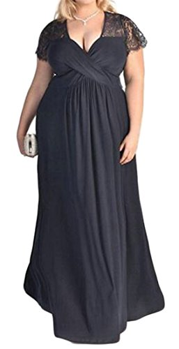 Size Plus Rise High Pleated Color Cruiize Sexy Swing Lace Blue Dress Solid Navy Long Womens BqtAAEwY