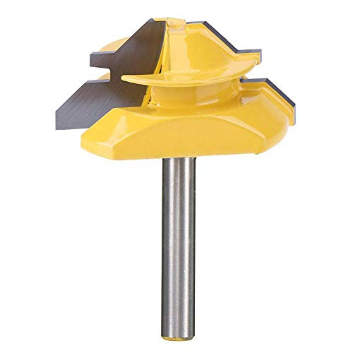 Yakamoz 1/4 Inch Shank 45 Degree Lock Miter Router Bit 3/4 Inch Stock Glue Joint Router Bit Woodworking Cutter Tool