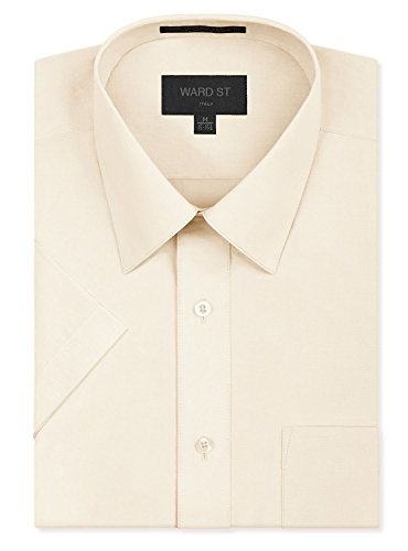 Ward St Men's Regular Fit Short Sleeve Dress Shirts, Large, 16-16.5N, - Mens Shirt Ivory