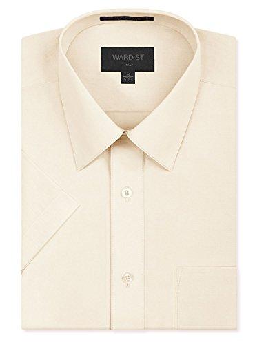 Ivory Mens Shirt - Ward St Men's Regular Fit Short Sleeve Dress Shirts, Large, 16-16.5N, Ivory