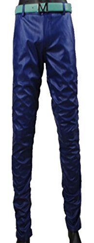 Cheap JIAX Men's Punk Rock Feet Skinny Motorcycle Tapered Slim Fit PU Leather Pants supplier