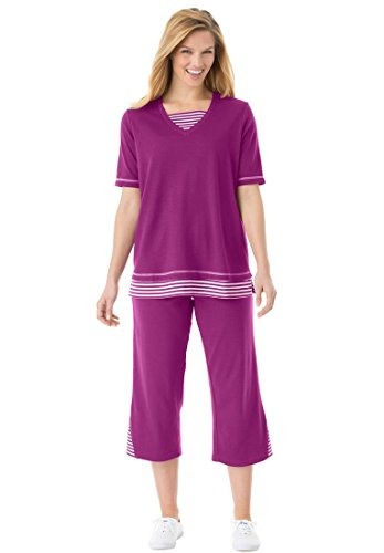 Women's Plus Size Set, Striped Inset Tunic And Capri (Berry Pink,1X)