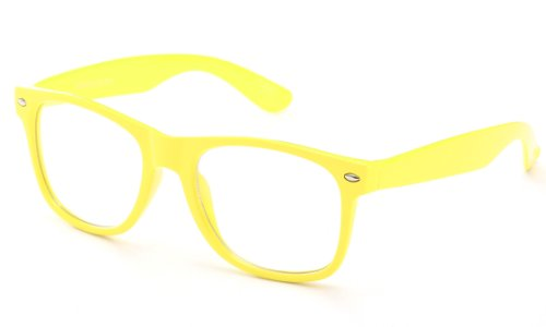 Newbee Fashion® - 80's Classic Blue Brothers Clear Lens Pastel/Neon Colored Wayfarer Styles Vintage Retro - Neon Ray Bans Yellow