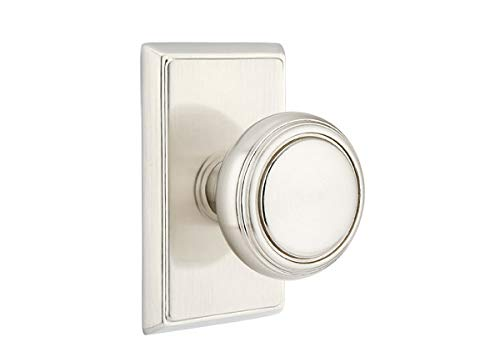 Emtek Passage Set, Rectangular Rosette, Norwich Knob, Satin Nickel US15