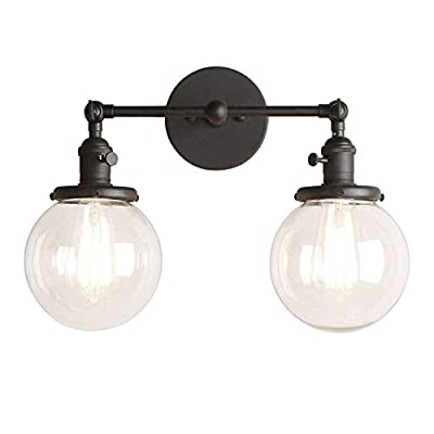 Pathson Vintage 2 Light Wall Sconce with Globe Clear Glass Shade