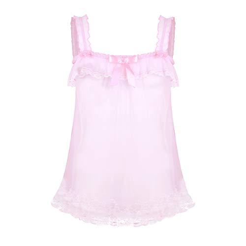 YiZYiF Men's Ruffled Frilly Sheer Sissy Crossdressing Lingerie Top Skirted Nightwear Pink X-Large