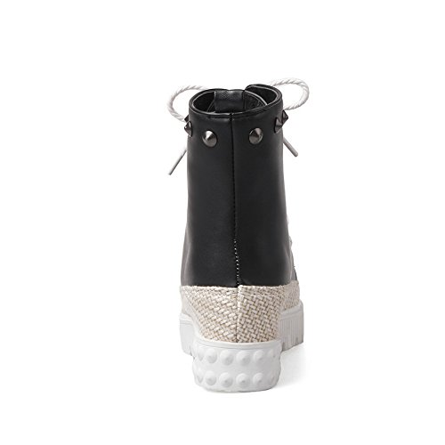 Bandage Imitated Black Boots BalaMasa BalaMasa Girls Rivet Platform Girls Leather Bandage xwIFTIZq4