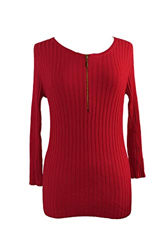 (INC Womens Henley Scoop Pullover Sweater Red XS)