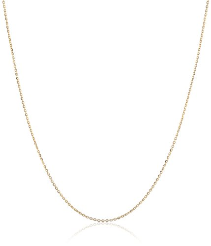 14k Yellow Gold Italian .90mm Oval Rolo Link Chain Necklace, 16