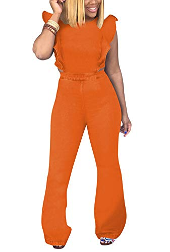 Women Denim Overalls Jumper Skinny Jeans Sleeveless Ruffle Backless Zipper High Waist Bodycon Jumpsuit Romper Wide Leg Palazzo Long Pants Evening Cocktail Party Wedding Playsuit Orange, Small ()