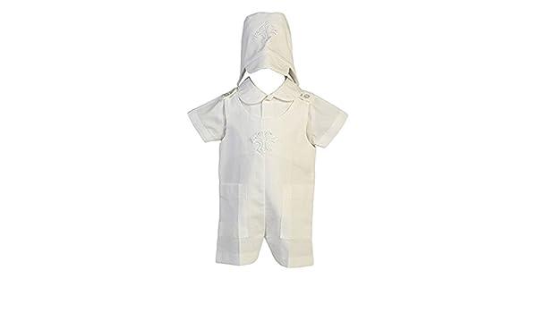 b3889919c Amazon.com  Lito Baby Boys White Cotton Cross Applique Christening ...