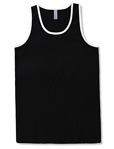 JD Apparel Men's Basic Athletic Jersey Tank Top Contrast Binding L Black -