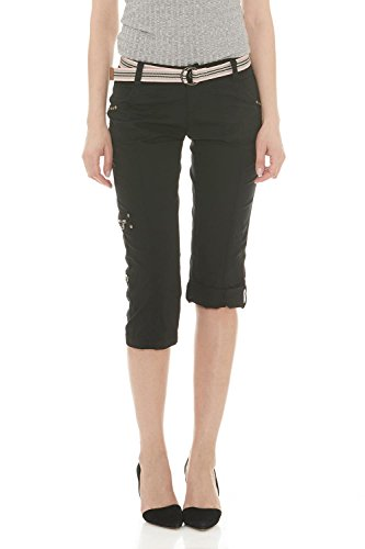 Suko Women Cargo Pants Adjustable Capri 17773 BLACK 8