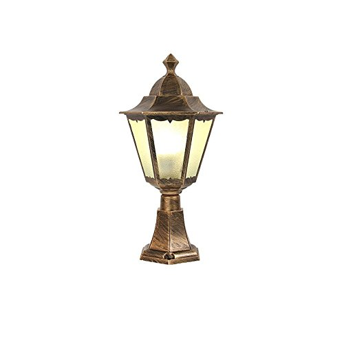 Traditional European Outdoor Pillar Light Column Lamp Vintage E27 Meadow Community Gate Lamp Post Lantern Vintage Aluminum Prevent Rust Villa Fence Open Air Waterproof Garden Lamp Patio ()
