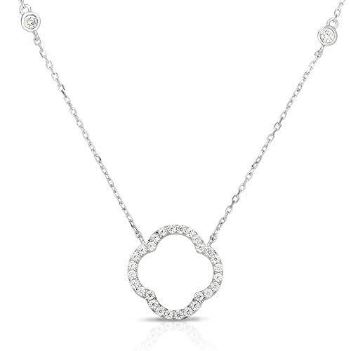 Unique Royal Jewelry Solid 925 Sterling Silver Cubic Zirconia Open Four Leaf Clover Pendant and Adjustable Length Necklace 16