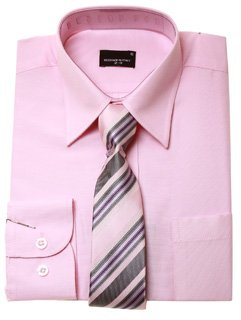 Boys Smart Shirt & Tie Set, Pink Shirt with Pink & Purple Striped ...
