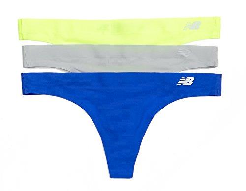 New Balance Women's Breathe Thong Panties (3 Pack), Toxic Neon/Concrete Grey/Pacific Blue, ()