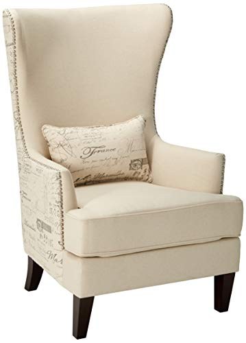 Coaster Home Furnishings 904047 Coaster Traditional Cream Winged Accent Chair with Script Back, 33.5x30.5x48, Brown (Back Wingback Chair High)