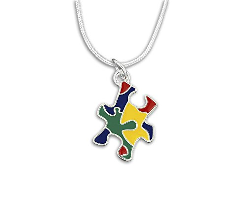 Autism Colored Puzzle Piece Necklace in a Gift Box (1 Autism Necklace - Retail)