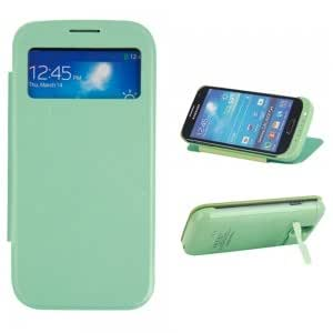 3200mAh Back Clip Mobile Power Charger with Smart Leather Case for Samsung Galaxy S4 i9500 Green