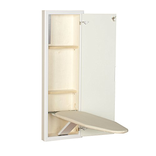 Side Mount Wall Cabinet (Household Essentials 18100-1 StowAway In-Wall Ironing Board Cabinet with Built In Ironing Board | White | Cut into Wall to Install)