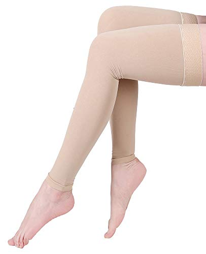 Footless Compression Stockings, KEKING Opaque Thigh High Compression Sleeves. Firm Support 20-30 mmHg Gradient Compression with Silicone Band, Treatment Swelling, Varicose Veins, Edema, Beige M