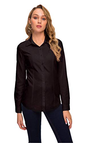 Double Plus Open Women Basic Tailored Collared Button Down Dress Shirt Long Sleeve Blouse Black M
