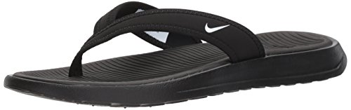 NIKE Women's Ultra Celso Thong Flip-Flop, Black/White, 8.0 Regular (Nike Lightweight Sandals)