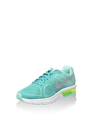 Nike Air Max Sequent (Gs), Zapatillas de Running para Mujer Verde (Clear Jade / Metallic Silver-Hyper Turq)