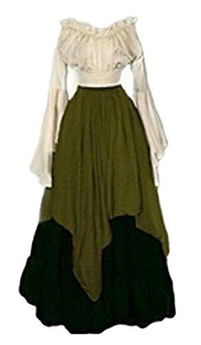 Sodossny-au Costume Renaissance Médiévale Femmes Longueur De Plancher Irrégulier Au Large Des Robes De Robe D'épaule Vert
