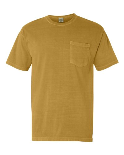 Pigment-Dyed Short Sleeve Shirt with a Pocket, Color: Mustard, Size: - Pigment Dyed Cotton Pocket