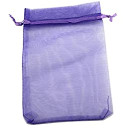 QIANHAILIZZ 50 Pack 12 x 16 Inch Drawstring Flower Bags Organza Jewelry Gift Pouch Candy Pouch Drawstring Wedding Favor Bags (Lilac)
