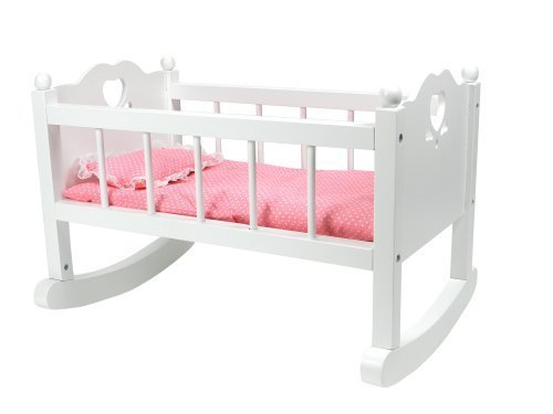Sophia's White Baby Doll Cradle Furniture, Open Sides & Heart Cutout Design Plus Doll Bedding Set, Fits American Girl Bitty Baby Dolls and More! Perfect Baby Doll Crib/ Cradle (Renewed)