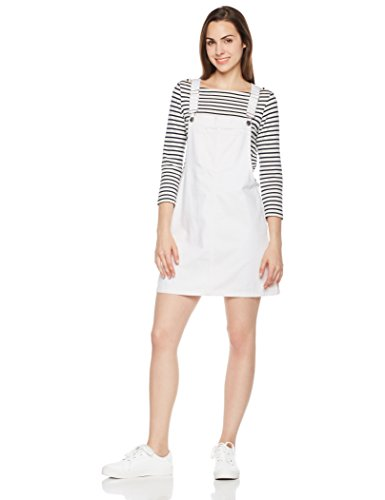 - Lily Parker Women's Classic Adjustable Strap Denim Overall Dress Large White