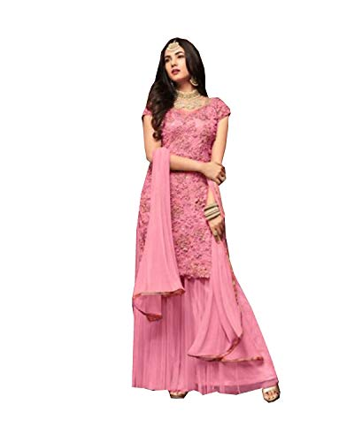 (Delisa Indian/Pakistani Bollywood Party Wear/Ethnic Wear Sharara Style for Women M-01 (Pink, X-LARGE-44))