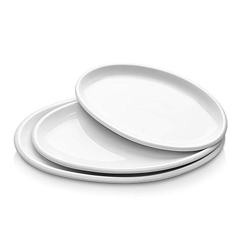 DOWAN Porcelain Platters, Oval Serving Plates for Parties, 12 Inches, 14 Inches, 15.5 Inches, Set of 3, White