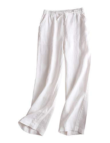 Gihuo Women's Elastic Waist Drawstring Palazzo Pants Linen Pants Wide Leg Trousers with Pockets (White, Large)