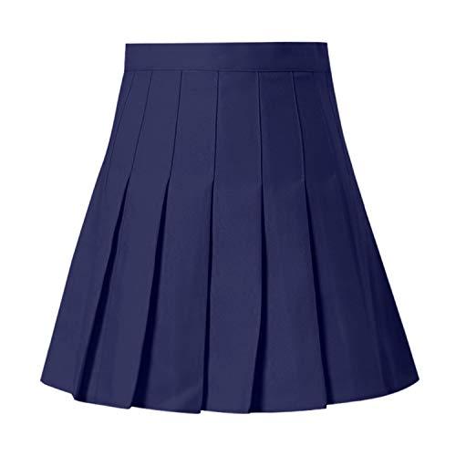 Women Summer Skirts High Waist Pleated Mini Skirt Slim Waist Tennis Skirt,Navy,XXL,China (Blu Skirt Tennis)
