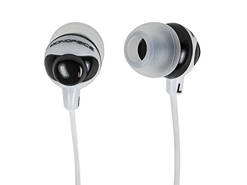 Monoprice Button Design Noise Isolating Earbud Headphones - Black/White with 9.2 mm driver for Apple Iphone iPod Android Smartphone Samsung Galaxy Tablets MP3