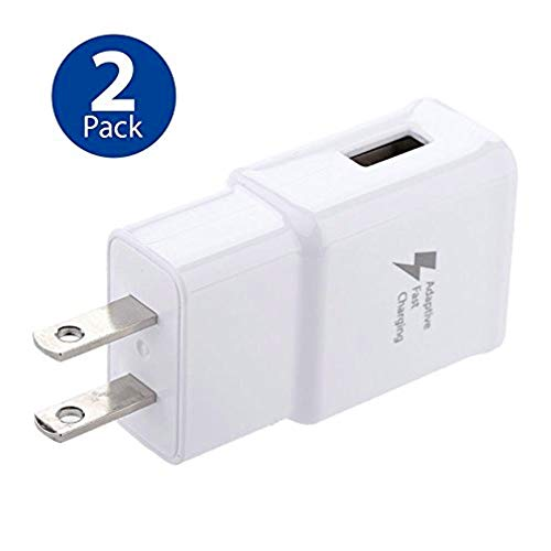 (Adaptive Fast Charging Wall Charger Adapter Compatible with Samsung Galaxy S6 S7 S8 S9 S10 / Edge/Plus/Active, Note 5,Note 8, Note 9,LG G5 G6 G7 V20 V30 ThinQ Plus EP-TA20JBE Quick Charge (2 Pack))