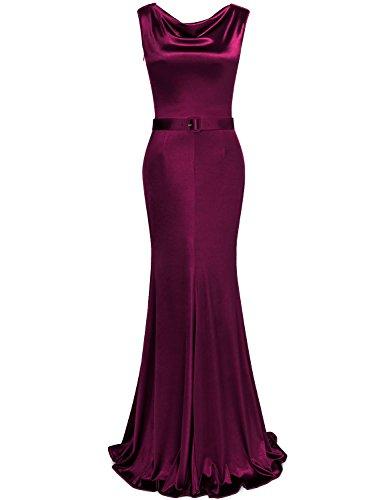 MUXXN Womens 1950s Cowl Neck Fishtail Evening Dress(2XL,Burgundy)