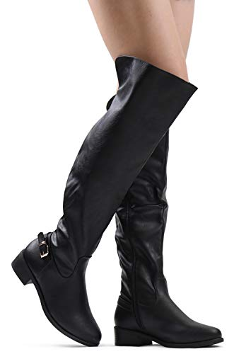LUSTHAVE Women's W5 Over The Knee High Flat Riding Boots - Low Stacked Heel - Buckle Decor Side Zipper Black PU 8.5 ()
