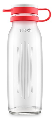 Ello Elsie BPA-Free Glass Water Bottle, 22 oz, Coral