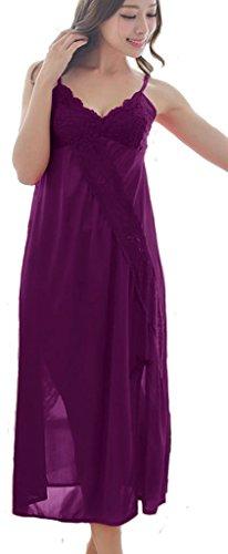 Yichun Chemise De Nuit Des Femmes Longues Dentelle Vêtements De Nuit Chemise De Nuit Sans Manches De Homewear V-cou Violet
