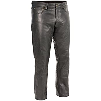 Men's fully lined up to the knee five pocket LOOSE FIT black leather jeans. Made of soft high grade cowhide leather. One piece straight cut front panel (very hard to find).