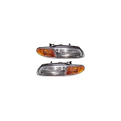 Headlight Set of 2 for 96-98 Chrysler Sebring JX Right and Left Side Assembly Halogen Convertible
