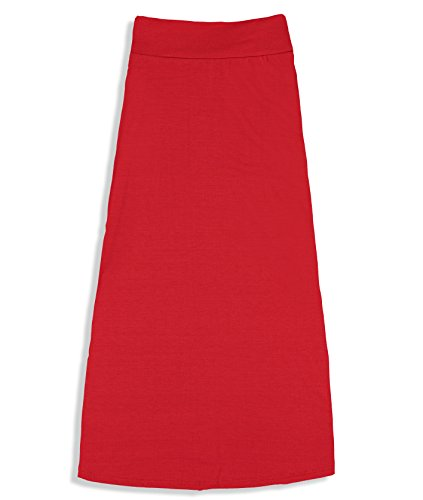 Free to Live Girls 7-16 Maxi Skirts - Great for Uniform (Medium, Red)